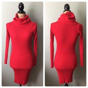 Body con Red knit size XS turtleneck dress!